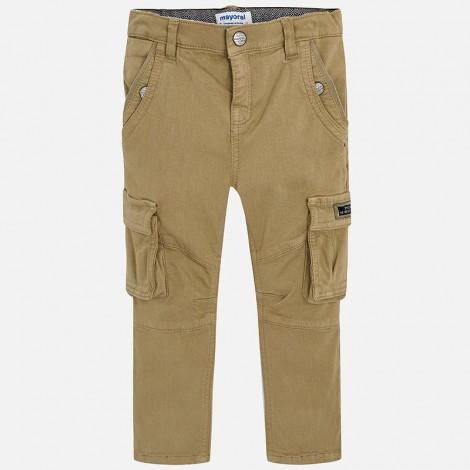 Pantalón cargo para niño bolsillos color Tostado
