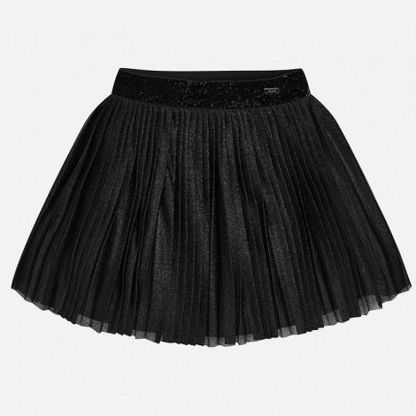 Falda plisada para niña con brillo color Negro