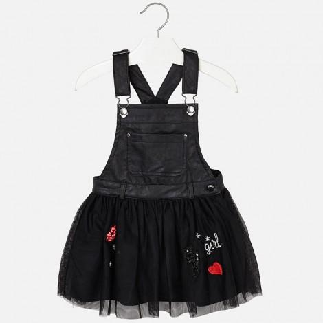 Falda niña con peto polipiel y tul color Negro