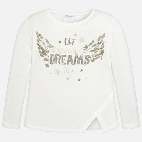 Camiseta para niña M/L dreams alas color Crudo