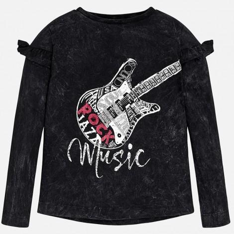 Camiseta para niña M/L guitarra color Negro
