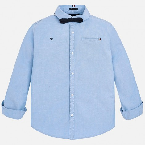 Camisa vestir M/L para niño con pajarita color Celeste