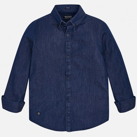 Camisa niño M/L denim estampado color Blue jeans