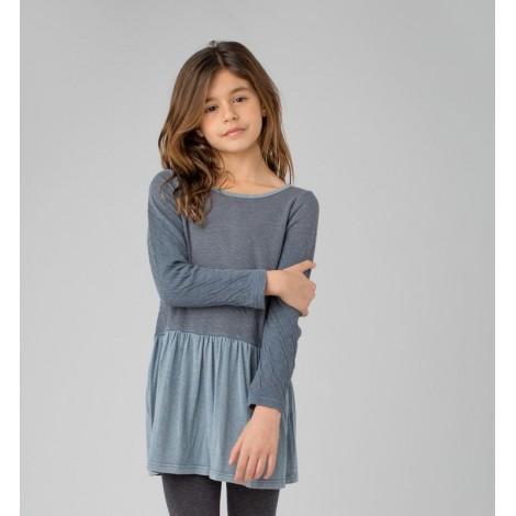 Vestido niña COMBI Algodón orgánico y CV azul gris