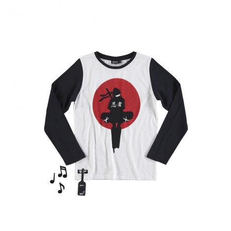 Camiseta infantil sonido NINJA M/L blanca y negra