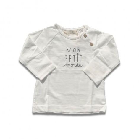 Camiseta bebé MON PETIT MONDE M/L crudo