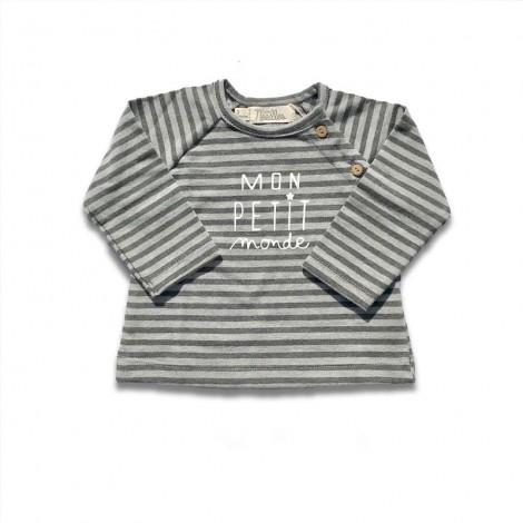 Camiseta bebé MON PETIT MONDE M/L rayas gris