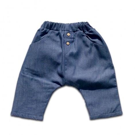 Pantalón bebé baggy denim con forro muy suave