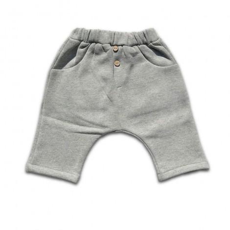 Pantalón bebé baggy afelpado deportivo gris claro