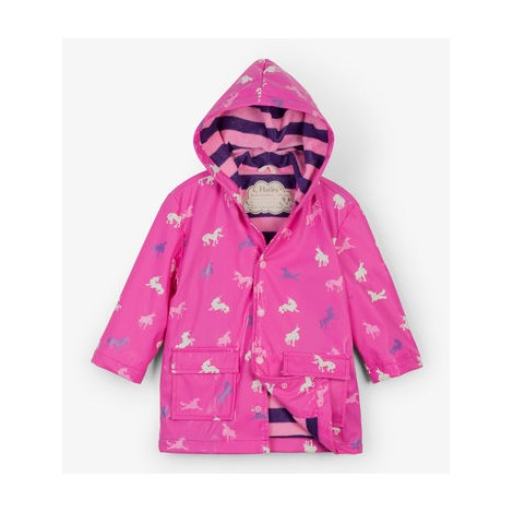 Parka impermeable niña rosa UNICORN cambia color