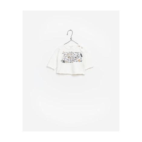 Camiseta bebé M/L algodón orgánico FLAME blanca