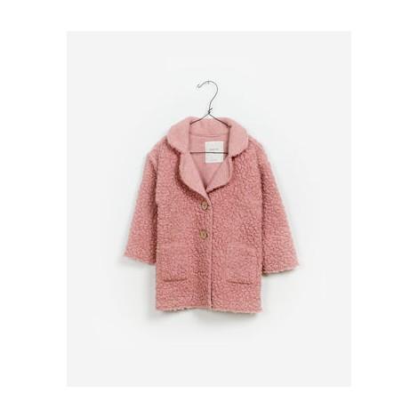 Chaqueta abrigo niña PELUCHE de bucle rosa
