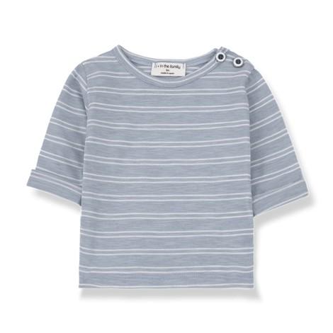 Camiseta bebé HAROLD M/L rayas en BLANCA-AZUL