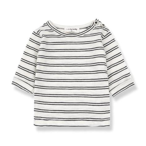 Camiseta bebé HAROLD M/L rayas en NEGRA-BLANCO