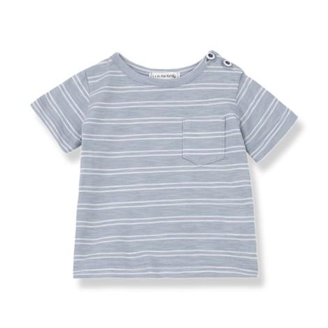 Camiseta bebé LUCA bolsillo rayas en BLANCA-AZUL