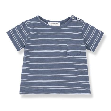 Camiseta bebé LUCA bolsillo rayas en BLANCA-INDIGO