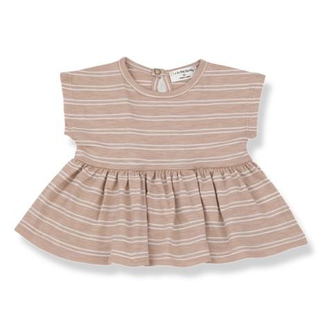 Blusa bebé PETRA con rayas en BLANCA-ARCILLA