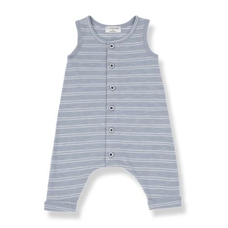 Pelele bebé PIET bolsillos rayas en BLANCA-AZUL
