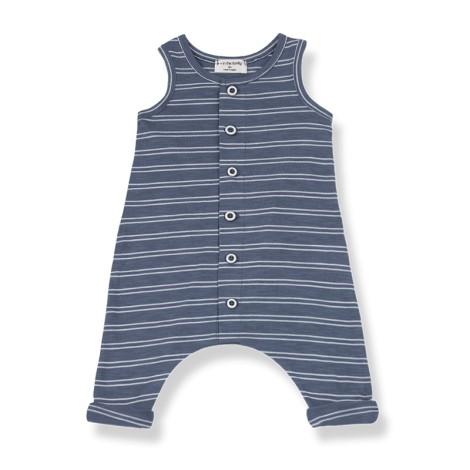 Pelele bebé PIET bolsillos rayas en BLANCA-INDIGO