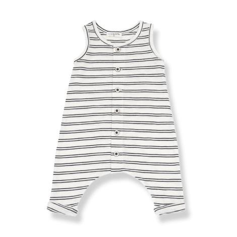 Pelele bebé PIET bolsillos rayas en NEGRA-BLANCO