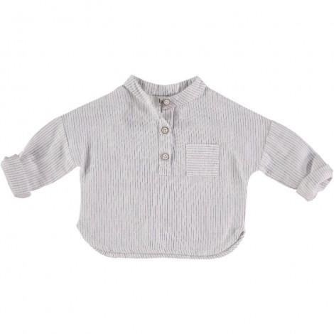 Camisa mao bebé rayitas en ECRU