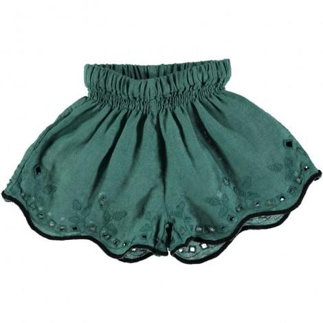 Pantalón short LEILA lino bordado en MINT
