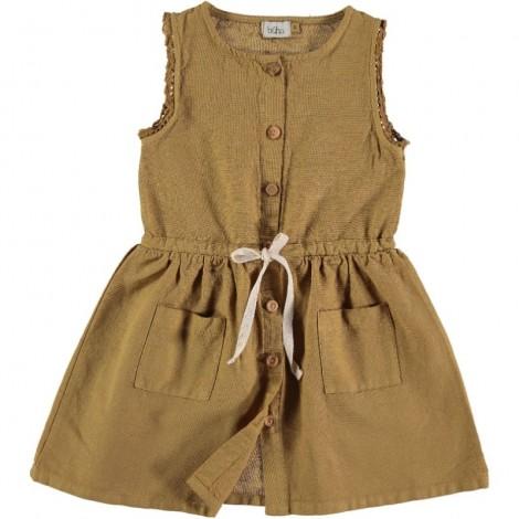 Vestido niña ANDREA botones frontales en MOUTARDE