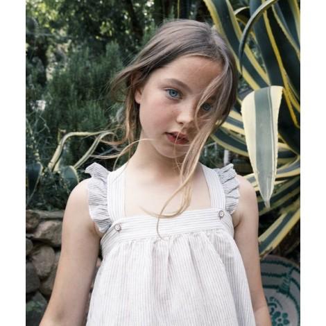 Vestido niña tirantes BLANCHE rayitas en ECRU