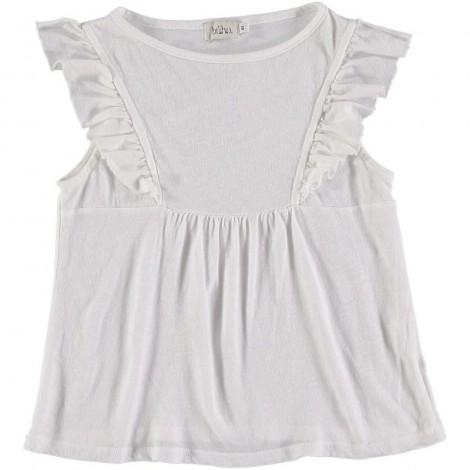 Camiseta blusa niña CLAIRE volantes en WHITE