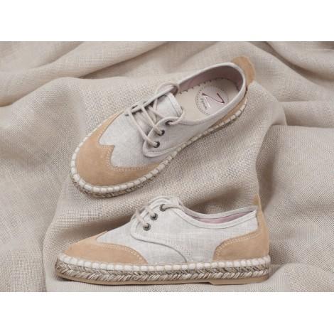 Zapatos niño blucher lino y ante natural Comunión