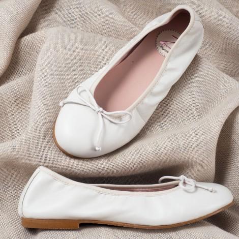 Zapatos manoletinas niña piel hielo Comunión