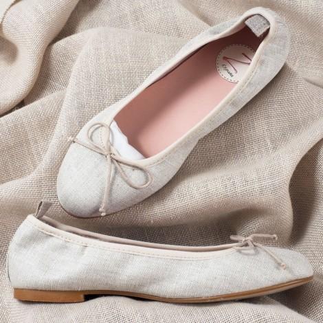 Zapatos niña manoletinas lino natural Comunión