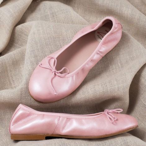 Zapatos niña manoletinas piel nude Comunión