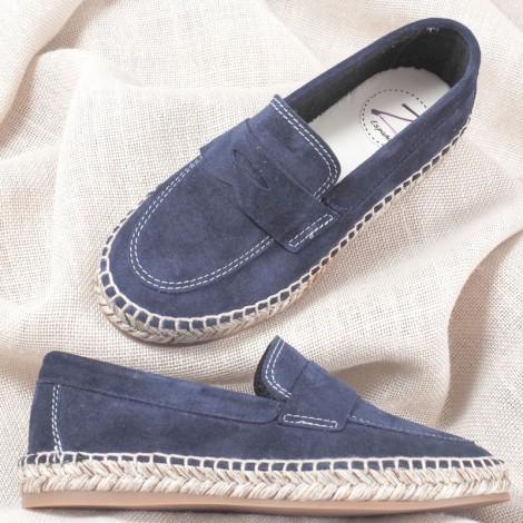 Zapatos niño mocasín piel-ante marino Comunión