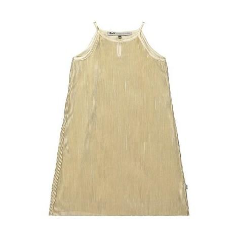 Vestido fiesta niña en raso plisado arena dorado