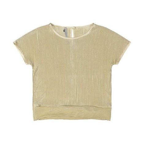 Camiseta fiesta niña en raso pliegues arena dorado