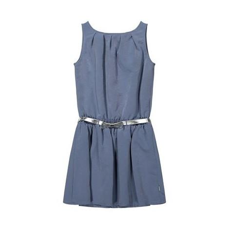 Vestido niña en satén suave azul