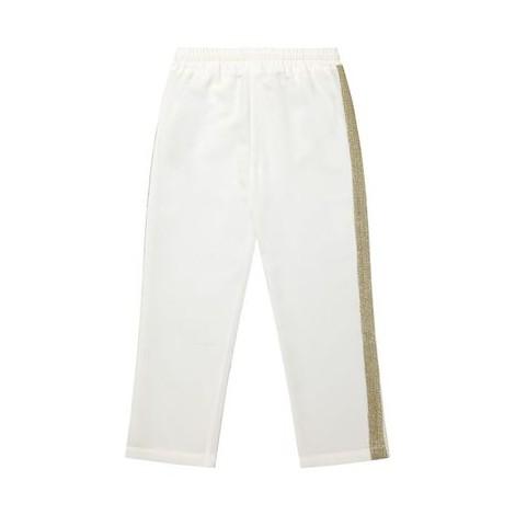 Pantalón niña vestir blanco detalles dorado