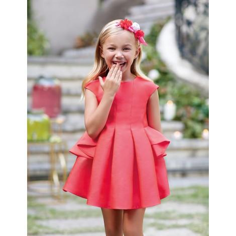 Vestido niña mikado color Rojo