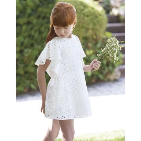 Vestido niña jacquard troquelado color Crudo