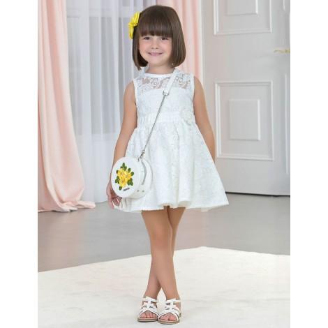 Vestido niña tul bordado color Blanco