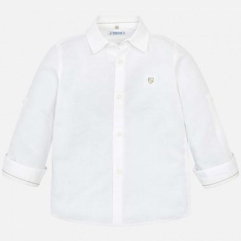 Camisa niño m/l lino básica color Blanco
