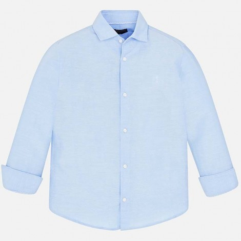 Camisa niño m/l lino básica color Celeste