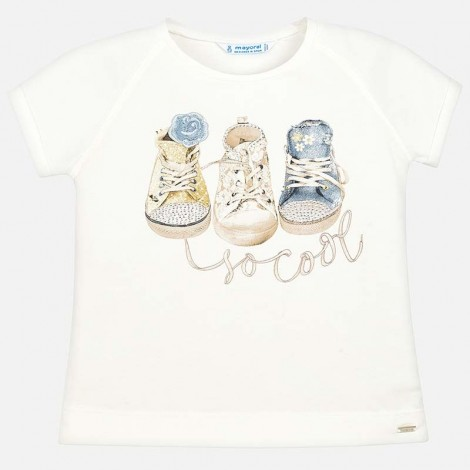 Camiseta niña m/c zapatillas color Crudo