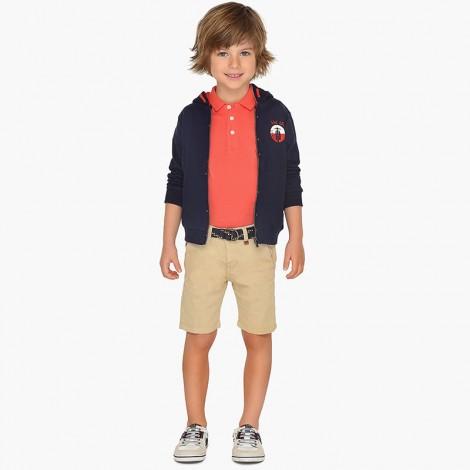 Bermuda niño pique con cinturon color Junco
