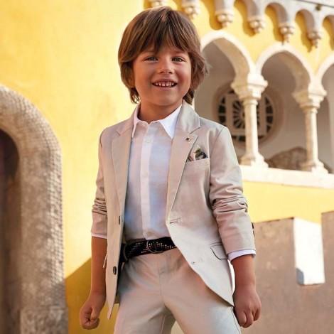 Chaqueta traje niño lino tailoring color Piedra