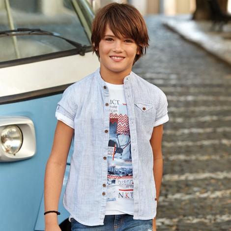 Camisa niño m/c cuello mao color Azul