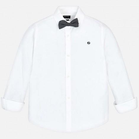 Camisa niño m/l pajarita color Blanco
