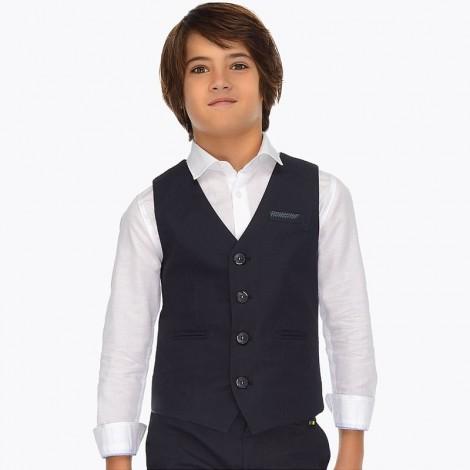 Chaleco lino niño vestir color Marino
