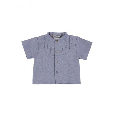Camisa MAO manga corta de bebé Azul Tejano Normandie